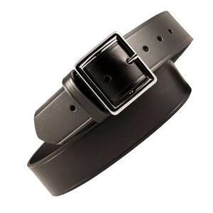 "Boston Leather Garrison Belt Stitched 32"" Brass Plain Black"