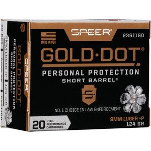 Speer Gold Dot Short Barrel Personal Protection 9mm Luger +P Ammunition 20 Rounds 124 Grain GDHP 1150fps