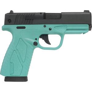 "Bersa BPCC 9mm Luger Semi Auto Pistol 3.3"" Barrel 8 Rounds Turquoise Polymer Frame Matte Black Slide Finish"