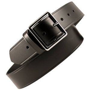 "Boston Leather 6505 Leather Garrison Belt 40"" Brass Buckle Plain Leather Black 6505-1-40B"