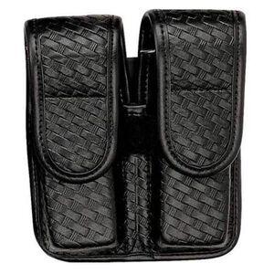 Bianchi Model 7902 AccuMold Double Magazine Pouch Hidden Snap Size 4 Leather Basket Weave Black 22083