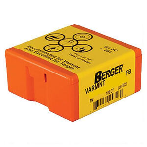 "Berger Varmint Bullets .22 Caliber .224"" Diameter 52 Grain Hollow Point Flat Base Projectile 100 Per Box"
