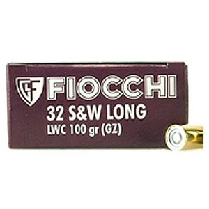 Fiocchi .32 S&W Long Ammunition 50 Rounds Lead Wadcutter 100 Grains 32LA