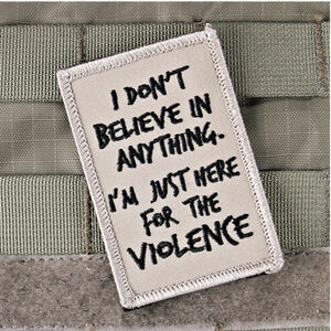 "Violent Little Machine Shop Here for the Violence Morale Patch 3""x2"" Velcro Brown and Black"