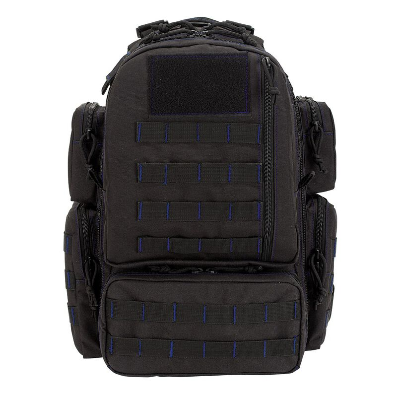 """Voodoo Tactical Mini Tobago Cargo Pack 14""""x 9""""x17.5"""" 25 Liter Black with Blue stitching"""