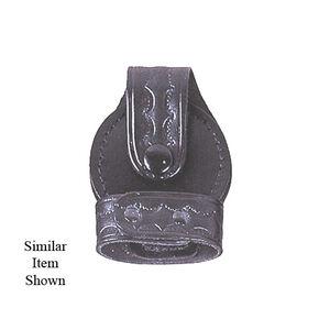 Stallion Leather Bikini Style Standard Handcuff Plain Nickel Hardware Black