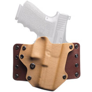 BlackPoint Leather WING OWB Holster GLOCK 43 Right Hand Leather/Kydex Hybrid Coyote Brown