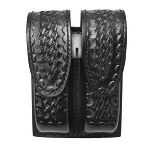 Gould & Goodrich Double Magazine Case Leather H&K 2000SK Style Hidden Snap Basket Weave Black Finish B629-7W