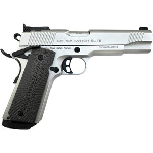 "EAA GiRSAN MC1911 Match Elite .45 ACP 1911 Semi Auto Pistol 5"" Barrel 8 Rounds Full Sized Government Profile G10 Grips Matte Chrome Finish"