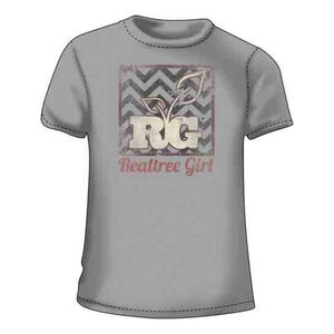 Realtree Women's Short Sleeve T Shirt Chevron Background with Logo Large Cotton Silver
