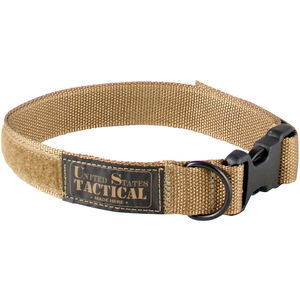 "US Tactical K9 Collar X-Large 1.25"" Wide QR Buckle Velcro Adjustment Coyote Brown"