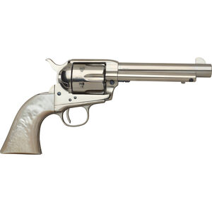 """Taylor's & Co Cattleman .45 LC Single Action Revolver 5.5"""" Barrel 6 Rounds Synthetic Pearl Grips Nickel Finish"""