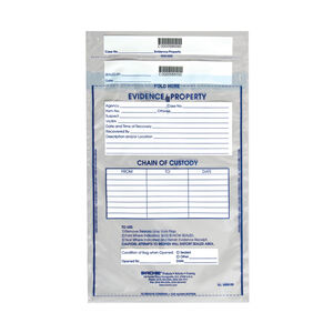 "Sirchie Integrity Evidence Bags 9"" X 12"" 3.2 Mil Thickness Tamperproof Seal Individually Numbered IEB9120"