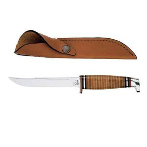 """Case Hunter Fixed Knife 5"""" Plain Edge Clip Point Steel Blade Leather Handle with Sheath"""