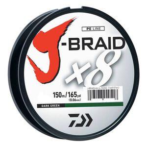 J-Braid Braided Line, 65 lbs Tested 165 Yards/150m Filler Spool, Dark Green