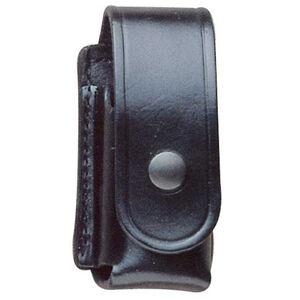 "DeSantis Chemical Spray Holder Ambidextrous Fits 2 oz Canisters 2 1/4"" Belt Brass Snap Leather Basket Weave Black"