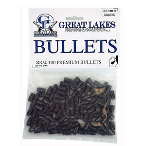 """Great Lakes Ammunition Reloading Supplies .32 Caliber .313"""" Diameter 100 Grain Cast Lead Semi Wadcutter Polymer Coated Bullets 100 Pack B688112"""