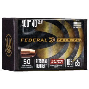 """Federal Hydra-Shok Bullets .40/10mm Caliber .400"""" Diameter 165 Grain Hydra-Shok Jacketed Hollow Point Projectile 50 Count Per Box"""