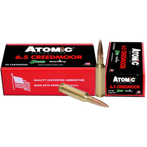 Atomic 6.5 Creedmoor Ammunition 20 Rounds 142 Grain Sierra MatchKing Boat Tail Hollow Point 2750fps