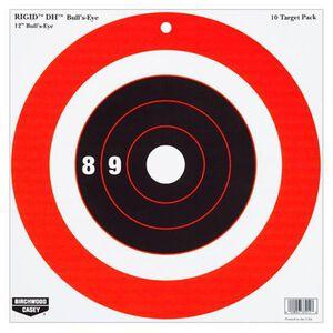 "Birchwood Casey Rigid 12"" Bull's Eye DH Paper Target Indoor/Outdoor White 10 Pack 37211"