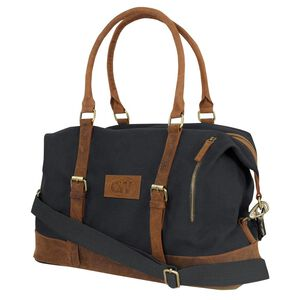 Camp-Ways Vintage Weekender Bag Distressed Black Canvas and Tan Leather