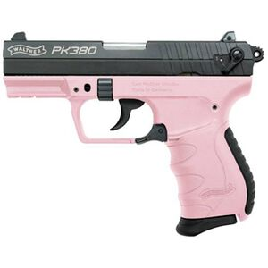 "Walther PK380 .380 ACP Semi Auto Pistol 3.66"" Barrel 8 Rounds 3 Dot Sights Picatinny Accessory Rail Polymer Frame Cerakote Slide Finish Black/Pink"