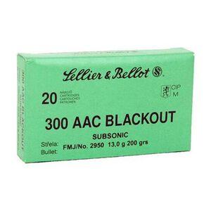 Sellier & Bellot .300 Blackout Ammunition 20 Rounds Subsonic FMJ 200 Grains SB300BLKSUBA