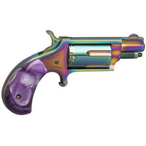 "North American Arms TALO Magenta Magnum .22 WMR Mini Revolver 1.125"" Barrel 5 Rounds Synthetic Purple Pearlite Grips Rainbow Titanium Frame Finish"