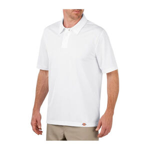Dickies Men's WorkTech Short Sleeve Performance Polyester Polo Shirt Extra Large White LS405WH