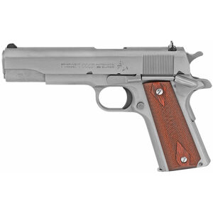 """Colt Classic 1911 Series 70 Government Model .38 Super Semi Auto Pistol 5"""" Barrel 9 Round Fixed Sights Rosewood Grips Stainless Steel Finish"""