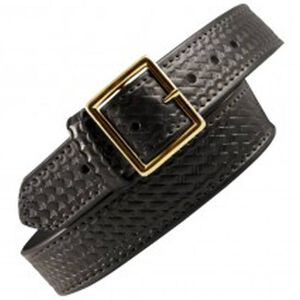 "Boston Leather 6505 Garrison Leather Belt with Lining 32"" Nickel Buckle Basket Weave Leather 6505L-3-32"