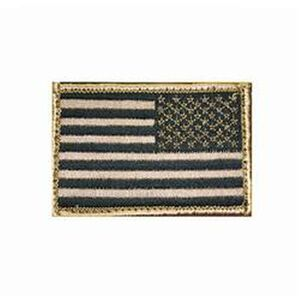 """BLACKHAWK! Reversed American Flag Patch Tan and Black, 2""""x3"""" Hook and Loop Backing"""