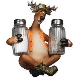 """River's Edge Products """"Deer"""" Salt and Pepper Shakers and Holder 532"""