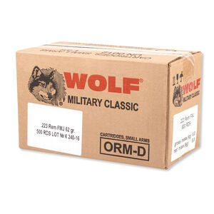 Wolf Military Classic .223 Remington Ammunition 62 Grain Bi-Metal FMJ Steel Cased 2920 fps
