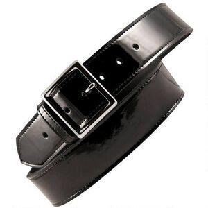 "Boston Leather 6505 Leather Garrison Belt 44"" Brass Buckle Clarino Leather Black"