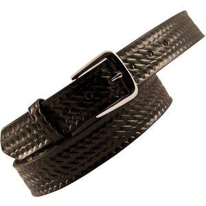 """Boston Leather 6582 Off Duty Leather Garrison Belt 44"""" Brass Buckle Basket Weave Leather Black 6582-3-44B"""