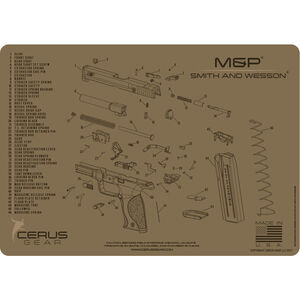 "Cerus Gear S&W M&P Schematic ProMat Handgun Size 12""x17"" Synthetic Coyote Tan"