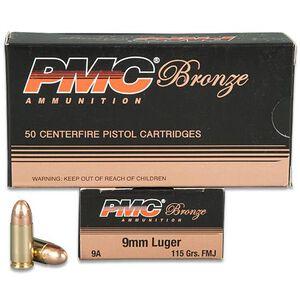 PMC Bronze 9mm Luger Ammunition 50 Rounds FMJ 115 Grains 9A