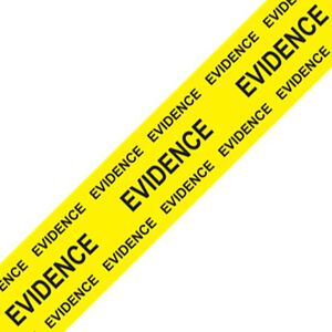 """Sirchie Box Sealing Evidence Tape 2"""" Wide 165' Long Yellow with Black Print Marked Evidence 706E"""