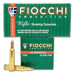 Fiocchi Shooting Dynamics .223 Remington Ammunition 55 Grain FMJ Boat Tail Projectile 3240