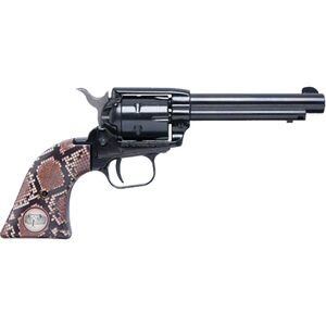 """Heritage Rough Rider .22 LR Single Action Rimfire Revolver 4.75"""" Barrel 6 Rounds Synthetic Snake Skin Grips Blued"""