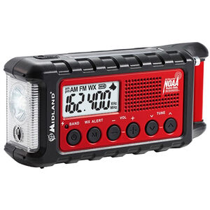 Midland Radio Corporation E-Ready Series Compact Emergency Crank Weather Alert Radio AM/FM Rechargeable Li-Ion Battery Solar Panel LED Light ER310
