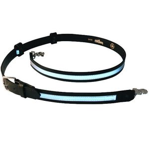 """Boston Leather 6543R Firefighter's Radio Strap Size XL 1.25"""" Wide Nickel Buckel Reflective Material Plain Finish Leather Black 6543RXL-1"""