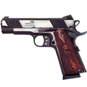 "Iver Johnson Hawk Semi Auto Handgun 1911A1 Standard .45 ACP 4.25"" Barrel 8 Rounds Checkered Wood Grips Blued Finish"