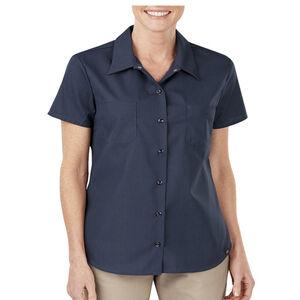 Dickies Women's Industrial Short Sleeve Permanent Press Poplin Work Shirt Medium Dark Navy FS5350DN