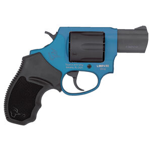 "Taurus 856 UL Ultralite .38 Special +P Double Action Revolver 2"" Barrel 6 Rounds Fixed Sights Rubber Grips Black Cylinder/Azure Blue Frame Finish"