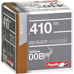"Aguila High Velocity Buck Shot .410 Bore Ammunition 25 Rounds 2-1/2"" #00 Buck 1/2oz 1100fps"