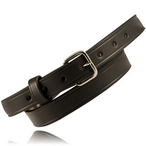 "Boston Leather 6581 1"" Off Duty Leather 46"" Waist Nickel Buckle Basket Weave Leather Black"