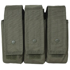 Voodoo Tactical AK47/AK74/M4/AR-15 Triple Magazine Pouch Hook/Loop Flap Adjustable Snap Closure MOLLE Webbing Compatible Nylon OD Green