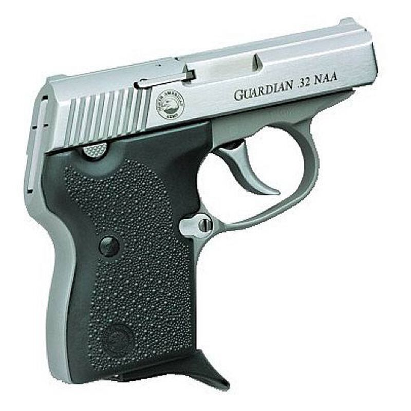 "NAA Guardian Semi Auto Handgun .32 NAA (Not .32 ACP)  2.49"" Barrel 7 Rounds Rubber Grips Stainless Finish"